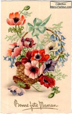 Carte de fleurs pour fête des mères