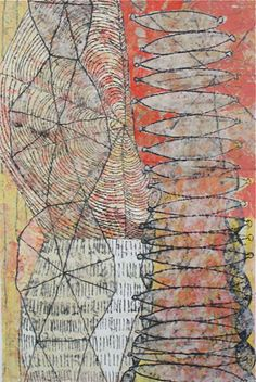 Eva Isaksen - Works on Paper - Towers with Red black outlines-need to get ink overlapping shapes