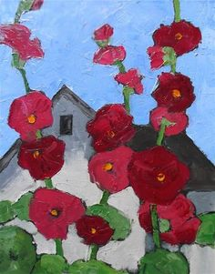 """Daily+Paintworks+-+""""Hollyhock+Cottage""""+-+Original+Fine+Art+for+Sale+-+©+lynne+french"""