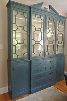 A gorgeous china cabinet finished in Aubusson Blue Chalk Paint® decorative paint by Annie Sloan and Soft Wax | By Farmhouse Blues Interiors