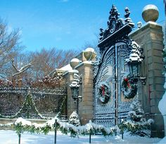 The Front Gate at The Breakers Mansion, Newport, Rhode Island.