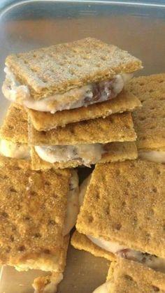 Vi Shape Ice cream sandwiches   - nonfat greek yogurt, 2   - Vi scoops shake mix,   -mixed with strawberry preserves and stuck between 2 cinnamon graham crackers
