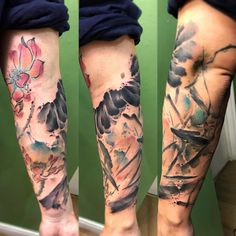 Abstract Watercolor Tattoo composition done by Yuki Zerkjad