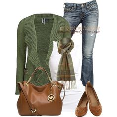 """Hunter Green & MK/Flats"" by casuality on Polyvore"