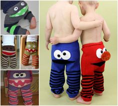 Elmo and Cookie Monster Bum Pants - FREE Monster Bum Pants Pattern