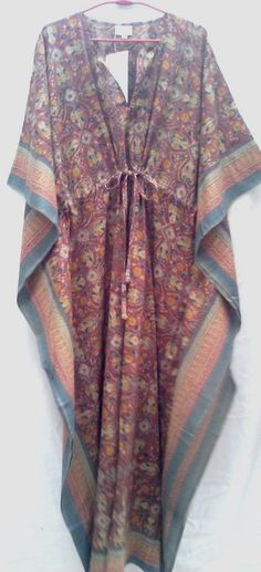 Floral Jali style Boho Chic Anokhi Hand block print Long Cotton Kaftan Tunic One Size