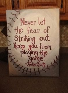 Baseball painting I did for my boyfriend's office. Baseball Crafts, Baseball Quotes, Baseball Signs, Baseball Mom, Softball, Baseball Boyfriend Gifts, Baseball Couples, Baseball Canvas, Baseball Stuff