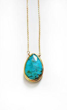 TURQUOISE drop necklace por keijewelry en Etsy, $50.00