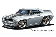 Cool Muscle Cartoon Cars | 1969 CHEVY CAMARO SS added to the CARTOON CARS / CHEVROLET gallery.