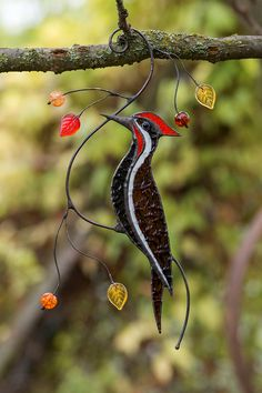 Woodpecker suncatchers on a branch Garden decor Window decor - Stained glass bird. Cool suncatcher gift woodpecher on a branch. Stained Glass Ornaments, Stained Glass Birds, Stained Glass Suncatchers, Faux Stained Glass, Stained Glass Designs, Stained Glass Panels, Stained Glass Projects, Stained Glass Patterns, Fused Glass