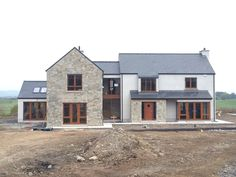 Not one of mine but adheres to Mayo CoCo Rural house guidelines well Arch House, House Front, Stucco Houses, House Designs Ireland, Dormer House, Shed With Loft, Cottage Extension, Self Build Houses, Rural House