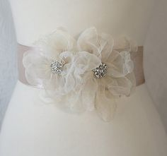 Champagne Bridal Sash, Rhinestone Wedding Belt, Organza Flowers Wedding Sash - ELISE