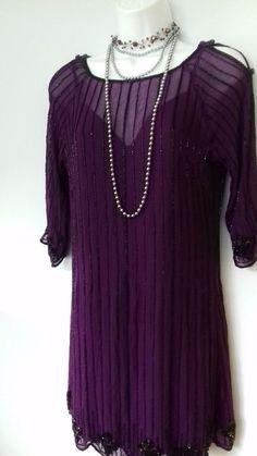 edfb5d02937bc Vintage Art Deco style beaded Silk Dress flapper 20s 30s Gatsby Party purple   Oli