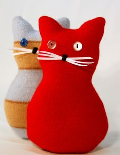 Recycled Wool Sweaters Felted Kitty Valentines Day Plushies Cupid by CatFluff on Artfire