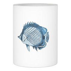 Fish ocean nautical coastal beach sea blue flameless candle