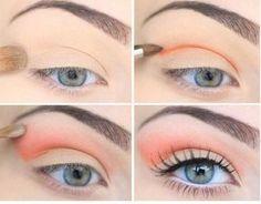 eye make up - The Beauty Thesis Pretty Makeup, Love Makeup, Makeup Tips, Peach Makeup, Coral Makeup, Makeup Ideas, Sweet Makeup, Orange Makeup, Gorgeous Makeup