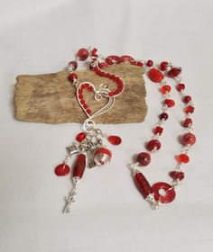 Red bead wrapped links necklace with woven heart by 5DogsDesigns