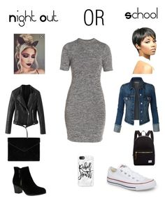 """School or night out?"" by demmygeor on Polyvore featuring French Connection, Skechers, Converse, Herschel Supply Co., Rebecca Minkoff, Casetify and WithChic"