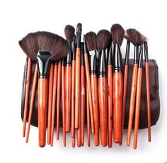 Megaga Makeup BrushesStudio Quality Natural Cosmetic Brush Set with Leather Pouch 24pcs makeup brushes set Brown *** Read more reviews of the product by visiting the link on the image.