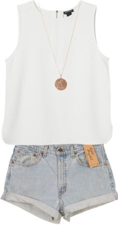 cute outfit of high waisted shorts, simple tank, and then just adding a simple but cute necklace.