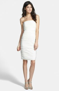 Love this: Ruched Strapless Cationic Chiffon Dress @Lyst