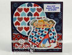Art Impressions Rubber Stamps: Ai Girlfriends: Quilt Set (Sku#4544) ...handmade quilting card.