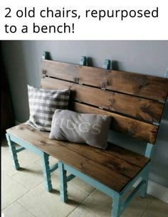 All you need are two chairs and some lumber to make this wonderful bench! More