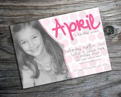 Polkadot Birthday Invitation with your photo or picture by PURPLEgalore on Etsy, $14.00