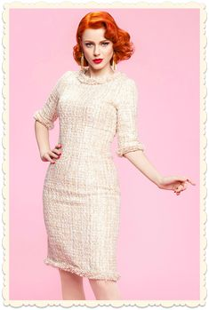 ade30a0609ef2e Robe droite vintage rétro-chic glamour années 50 Tweedy tweed beige   or