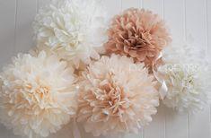 Neutrals .. 5 tissue paper pom poms .. wedding decoration / nursery room decor on Etsy, $20.00