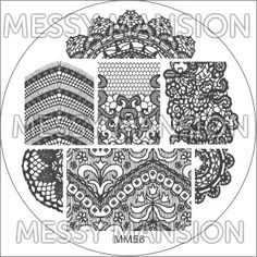 Nail Art Stamping Image Plate Lace Theme II by MessyMansion Lace Nail Art, Lace Nails, Nail Art Stamping Plates, Nail Plate, Stamping Tools, Film Blue, Image Plate, Nail Polish Art, Mansions