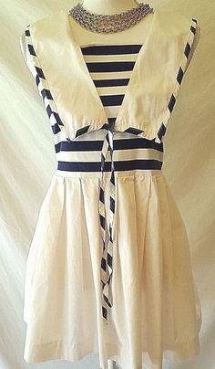 78d050f79fc Leslie Lucks Vintage Womens Sailer Nautical Navy   White Dress Runs Small 10