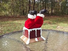 Gemmy Animated Santa Claus Stuck In Chimney Moves And Talks