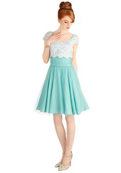 I adore this bridesmaids dress. The white lace on top would match the lace everything else in my wedding :)  Breathtaking Belle Dress in Mint | Mod Retro Vintage Dresses | ModCloth.com