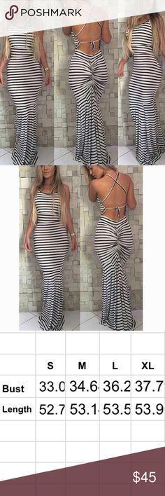 Black and white stipe maxi dress S-4, M-6, L-8, XL-10 Dresses Maxi