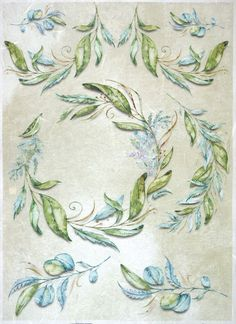 Rice Paper for Decoupage Decopatch Scrapbook Craft Sheet A/3 Blue, Greean Leaves