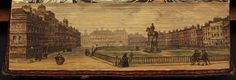 "Fore-edge book painting of Leicester Square. Book title: ""The Guardian"" 1789."