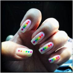 One of my favorite fast manicures. Super simple but still fun and colorful. The vertical pattern helps make my nails appear longer :)    Basecoat: Seche Rebuild - Polish: 2 coats Zoya Angella - Dots: various Art Club nail art polishes - Topcoat: Seche Vite
