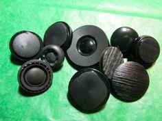 "10 -  5/8"" - 1"" DECORATIVE BLACK PLASTIC METAL SHANK BUTTONS - ASSORTED Lot#K543"