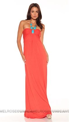 Sky Coral Emelina Long Dress With Stone Necklace