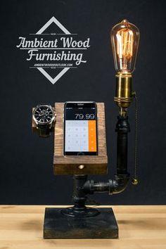 Industrial Pipe Lamp With Wood Watch & Phone Docking Station