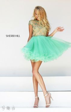 Nude/Lime High Neck Beaded Sherri Hill 21304 A-Line Short Tulle Prom Dress Cheap Backless Homecoming Dresses, Tulle Prom Dress, Cheap Prom Dresses, Dance Dresses, Sexy Dresses, Party Dress, Casual Dresses, Pretty Dresses, Beautiful Dresses