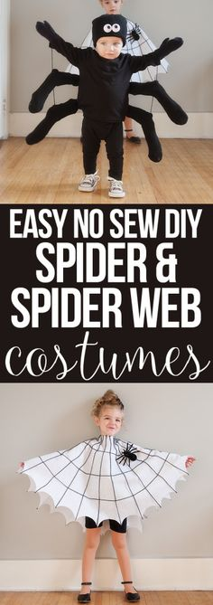 There's still time to make your Halloween costumes! Here's a DIY spider & spider web costume Halloween Infantil, Diy Halloween Costumes For Kids, Holidays Halloween, Halloween Decorations, Halloween Spider, Homemade Halloween, Black Dress Halloween Costume, Halloween Couples, Group Halloween