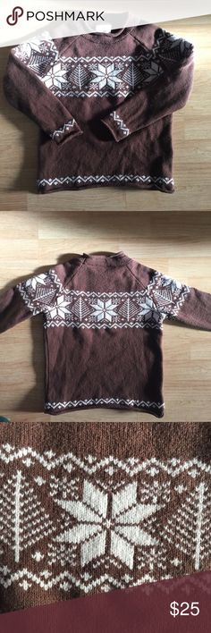 Hanna Andersson Boy wool Snowflake Sweater Thick wool winter sweater in brown with snowflake design. Boy or could be unisex. Excellent condition, see photos. Size 110 cm (US 5 equivalent)  Comfy and warm 80% wool Hanna clothing lasts forever! Well worth it. See my other listings to bundle.  I was going to list clothing in lots, but it's better for you to choose what you like instead. so bundle and I'll discount 2 or more items and send a private offer. Thanks! Hanna Andersson Shirts & Tops…