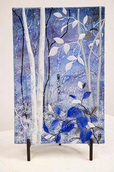 Blue Moon - by Dancing Light Fused Glass Studio