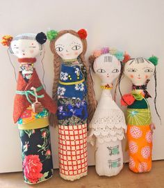 Textile art doll embroidered display soft by JessQuinnSmallArt