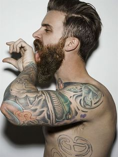 Ah, geez.... full thick beard and mustache beards bearded man men bushy tattoos tattooed coloration handsome #beardsforever