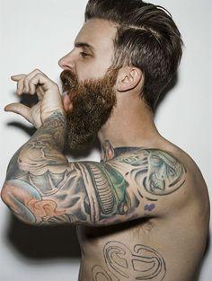 Ah, geez.... full thick beard and mustache beards bearded man men bushy tattoos tattooed coloration handsome #beardsforever
