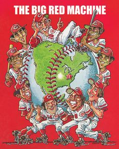 "To celebrate the upcoming Joe Morgan weekend and the return of the ""Great Eight"" to Cincinnati legendary Reds cartoonist Jerry Dowling created this magazine cover. www.reds.com"