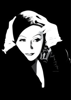Greta Garbo by pin-n-needles on DeviantArt Golden Age Of Hollywood, Classic Hollywood, Hollywood Stars, Era Do Jazz, White Pen, Black And White, Stencil Art, Stencils, Vector Portrait